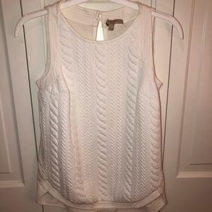 Anthro Bordeaux white cable top XS